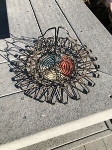 Vintage COLLAPSIBLE WIRE EGG BASKET French Country Farm Kitchen Original Label