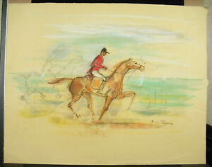 Rene-William-Thomas-Drawing-1930-50-Horse-de-Course-on-the-Beach-Race-Horce-Draw