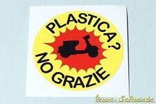 """Dekor Aufkleber """"Plastica? No grazie!"""" - Vespa Lambretta Scooter Roller Sticker"""
