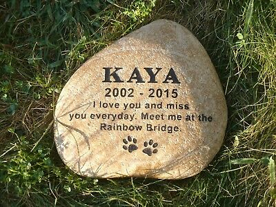 Personalized Pet Memorial Stone on Natural Sea Rock