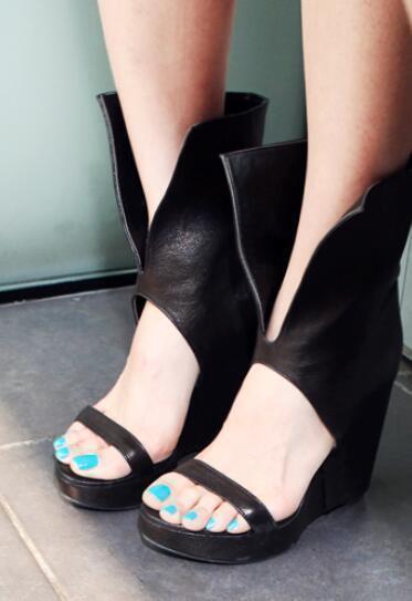 Mujeres Mujeres Mujeres Cuña Tacón alto puntera abierta botas Zapatos Sandalias Gladiador Plataforma romana A46  auténtico