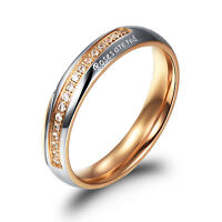 4mm Mens Womens Cz Gold Titanium Wedding Engagement Ring Band Size Q A15