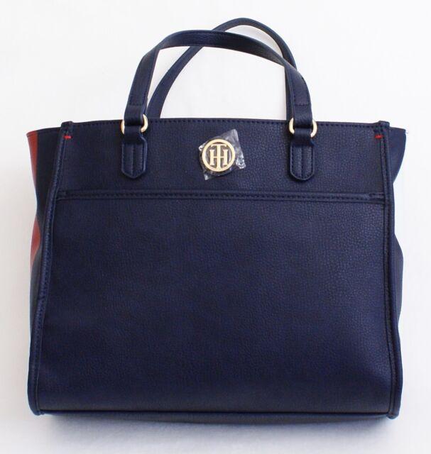 Tommy Hilfiger Navy Blue Shopper Handbag Purse Tote Red   White Detail NWT af74650287