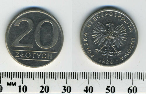 Eagle with wings open Poland 1986-20 Zlotych Copper-Nickel Coin
