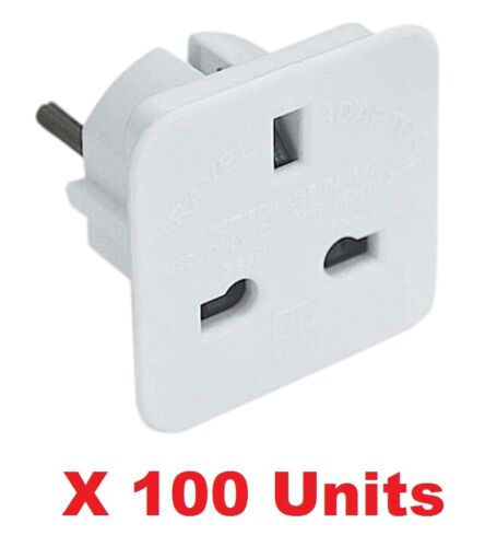 100 X UK To EU Euro Europe European Travel Adaptor Plug 2 Pin Adapter Approved