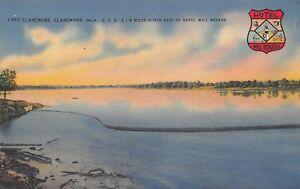 VTG-POSTCARD-LAKE-CLAREMORE-HOTEL-WILL-ROGERS-SEAL-OKLAHOMA-OK-LINEN-UNUSED-A74