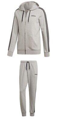 Adidas 3 Stripe Herren Trainingsanzug Jogginganzug Baumwolle Grau Jacke+Hose   eBay