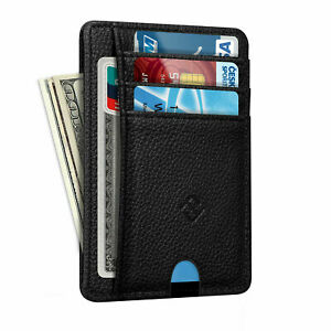 Mens-RFID-Blocking-Leather-Slim-Wallet-Money-Clip-Credit-Card-Slots-Coin-Holder