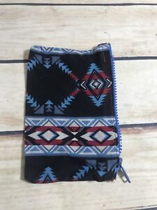 Small-Coin-Purse-Pouch-Aztec-Style-Print-Zip-Closure-Blue-Black-Fabric