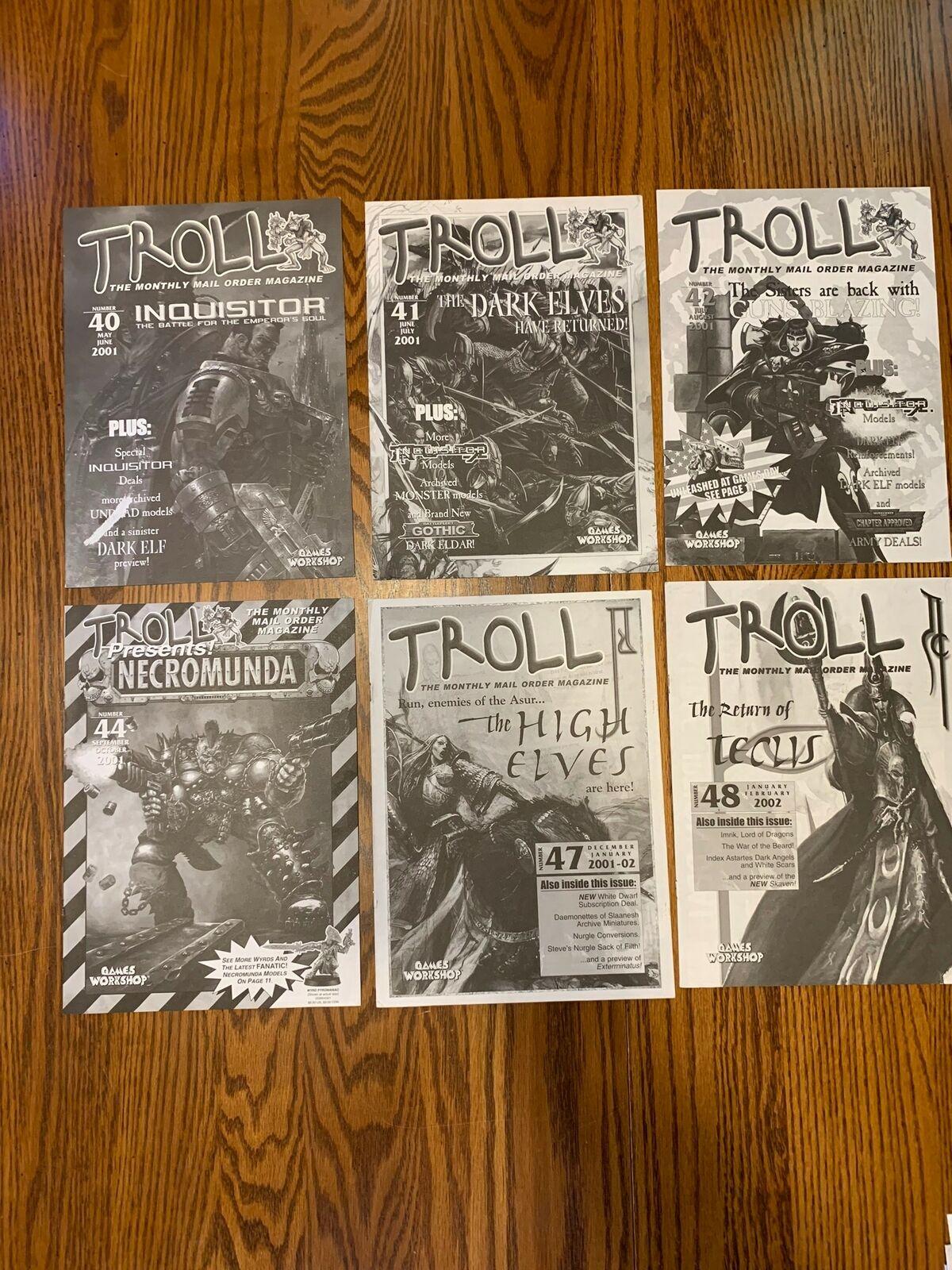 6 x GW Games Workshop TROLL Magazine 2001 2002 # 40 41 42 44 47 48 Inquisitor