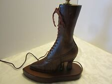 ANTIQUE VICTORIAN WOOD CARVED BOOT SHOE TABLE LAMP FOLK ART SILK LACES VINTAGE