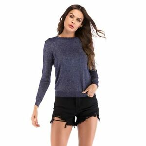T-Shirt-Long-Sleeve-Slim-Fit-Tops-Crew-Neck-Knitted-Jumper-Pullover-Women-039-s