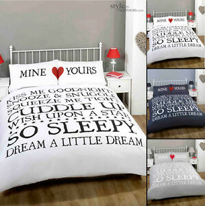 Mine-Yours-Retro-Chic-Scroll-Text-Duvet-Quilt-Cover-Bedding-Set-amp-Pillowcases