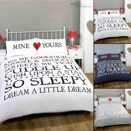 Mine Yours Retro Chic Scroll Text Duvet Quilt Cover Bedding Set /& Pillowcases