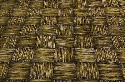 "KINGSWAY FIJI BROWN WOOD CHECKER CUSHION FURNITURE FABRIC BY THE YARD 54"" W"