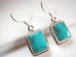 Turquoise-Simple-Rectangle-Earrings-925-Sterling-Silver-Dangle-Drop-New