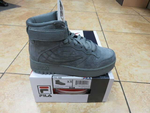 FILA KIDS JUNIOR FX 100 HIGH TOP GREY SUEDE CSRK SIZES 3.5 TO 7 *NEW RELEASES*