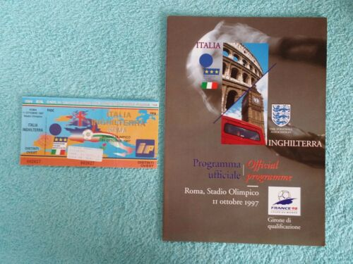 1997 ITALY v ENGLAND PROGRAMME + MATCH TICKET WORLD CUP 98 QUALIFIER