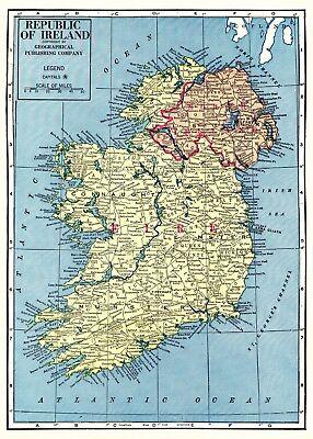 Republic Of Ireland And Northern Ireland Map.1963 Vintage Ireland Map Uncommon Republic Of Ireland Map Northern Ireland 4057 Ebay