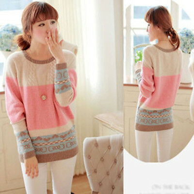 New Arrive Warm Winter Cute Knitted Pullover Tops Loose Round Collar Sweater