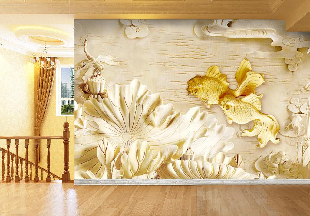 3D gold Carpe 849 Wall Paper Wall Print Decal Wall Deco Indoor Wall