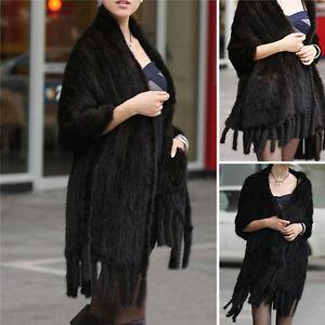 estilo de moda nuevo autentico estilo novedoso Detalles de Superior Real Capa De Estola De Piel De Visón Largo Mujer  Abrigo Suave Mantón