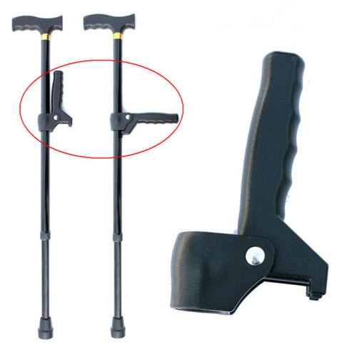Black Old Man Walking Stick Elderly Trekking Pole Cane Auxiliary Handle Useful G