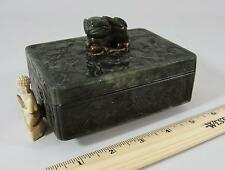Antique early 20thC Chinese Hand Carved Spinach Jade Box w/ Foo Dog & Buddha