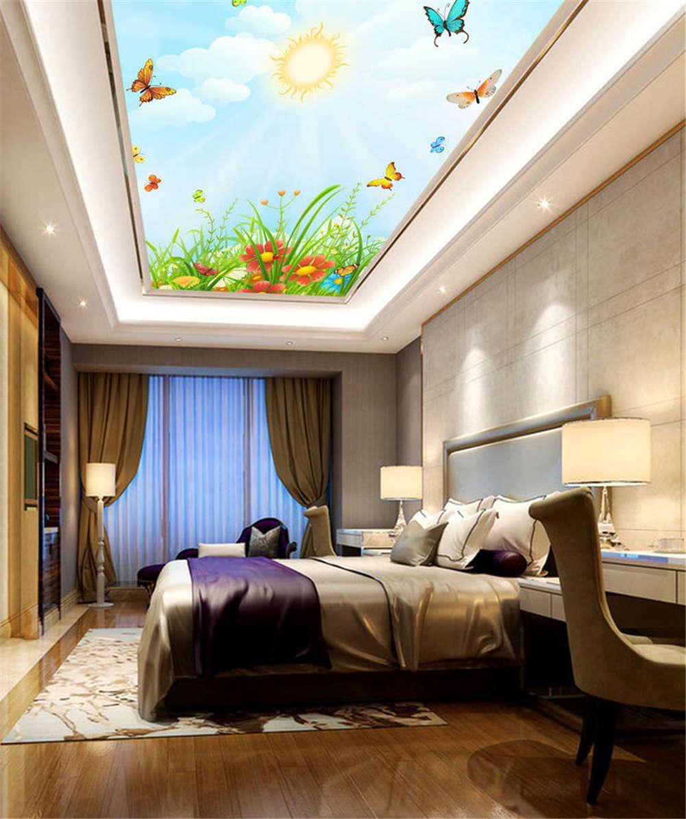 Cunning Vivid Birds 3D Ceiling Mural Full Wall Photo Wallpaper Print Home Decor
