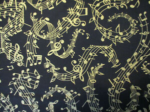 GOLD MUSIC NOTES CREAM BACKGROUND COTTON FABRIC FQ OOP