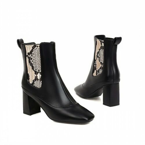 Details about  /Europe Women/'s Punk Western Block Chunky Heel Square Toe Ankle Boots 47//48//49 D