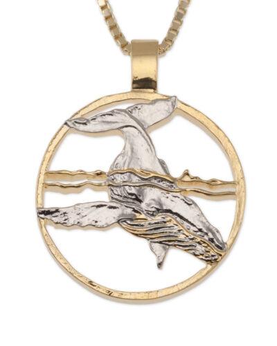 "# 640 Humpback Whale Pendant 1 1//8/"" In Dia. Hand Cut Humpback Whale Coin"