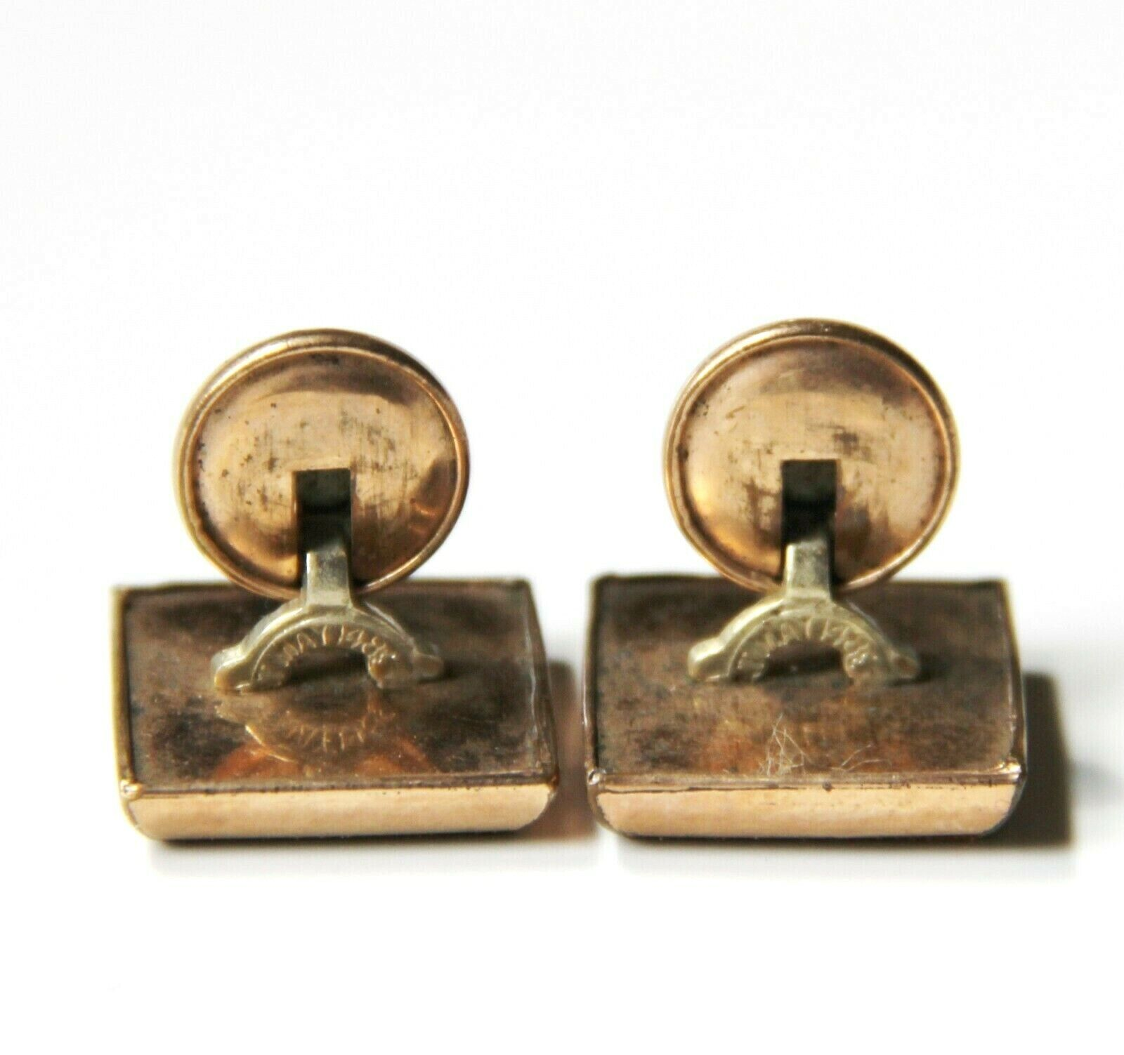 Antique AVENTURINE GLASS Unisex Cufflinks  Victorian Diamond-Shaped Repousse Gold /& Goldstone Cuff Links  Movable Oval Backs on Fixed Bars