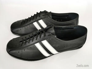 Classic Road Cycling Shoes leather handmade vintage style, black with stripes