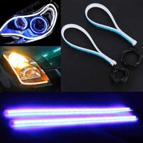 Ultra Thin DRL Car Tube LED Strip Daytime Running Light Headlight Eyebrow Light.