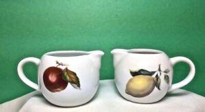 BIA CORDON BLEU  Set of 2 WHITE Porcelain PITCHERS Creamers Syrup w FRUIT