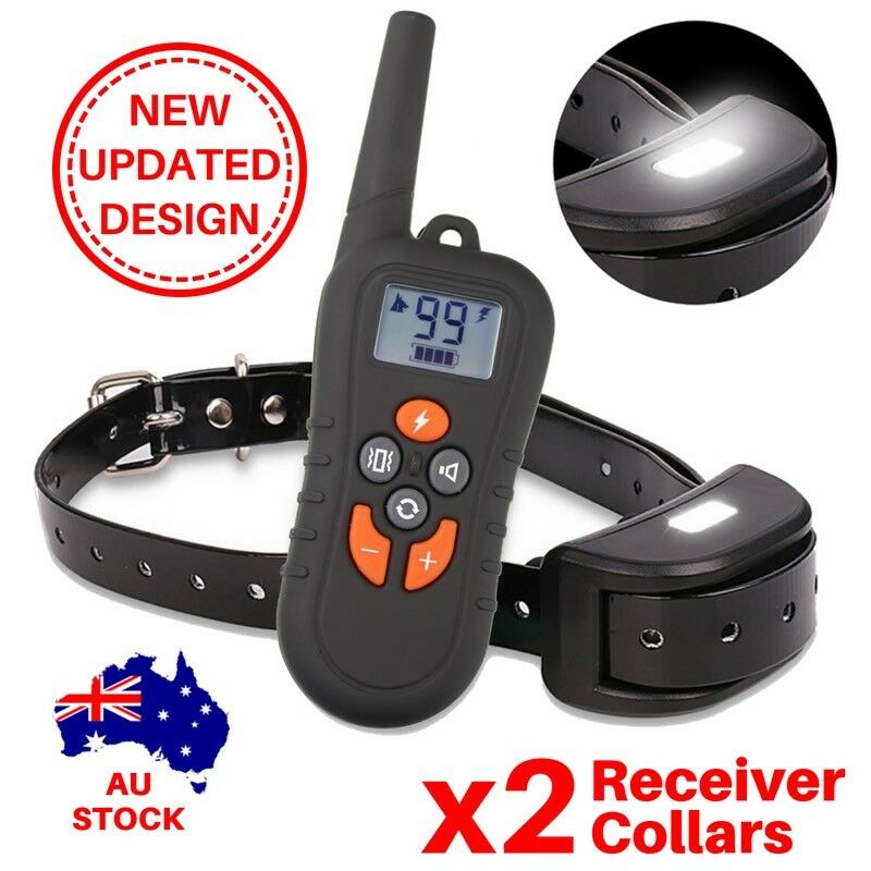 2x Dog Training Remote Collar AntiBark Obedience Trainer RECHARGEABLE 500metres