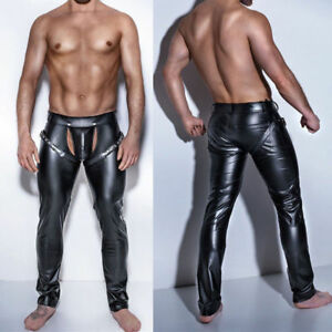 3c6528642 Image is loading Mens-Skinny-Faux-Leather-Pants-Open-Crotch-Club-