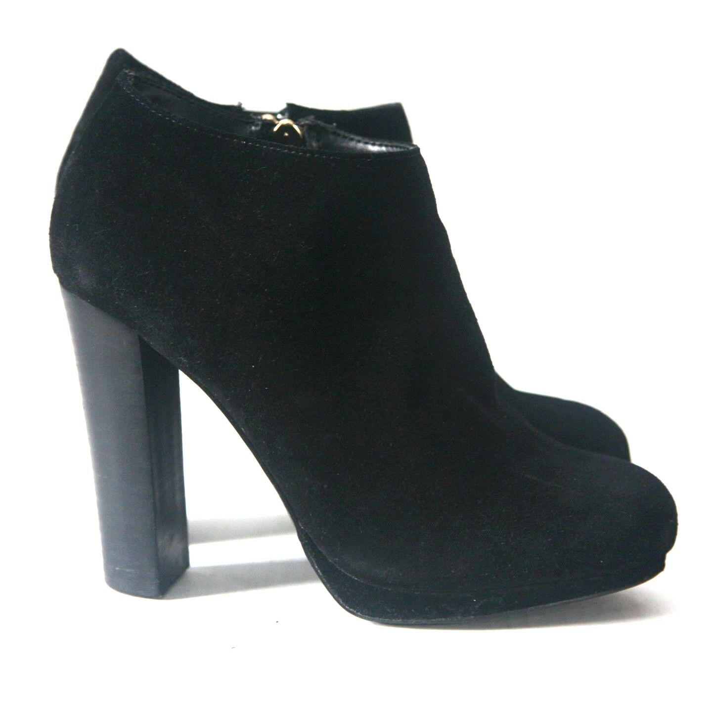 Size 7.5 - VICTORIA'S Chunky SECRET Women's Black Suede Chunky VICTORIA'S Heel Ankle Boots 6d59e5