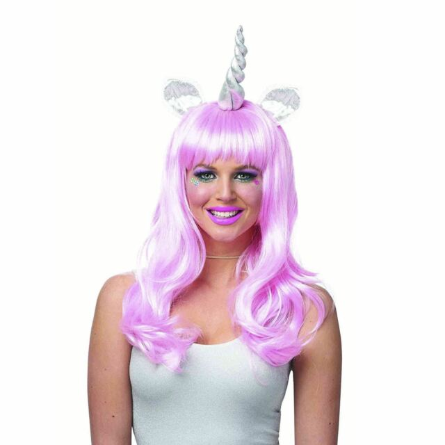 Womens Pink Silver Magical Unicorn Pony Horn Costume Long Wig DIY Festival  Group cad629805