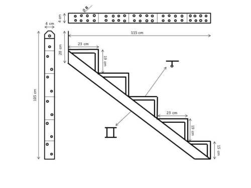 Behelfs Escalier Escalier Cadre Aluminium Noir 2-6 marches