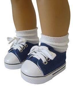 "Navy Canvas Sneaker Slipon Shoes fits 18/"" American Girl Doll Boy Logan Clothes"