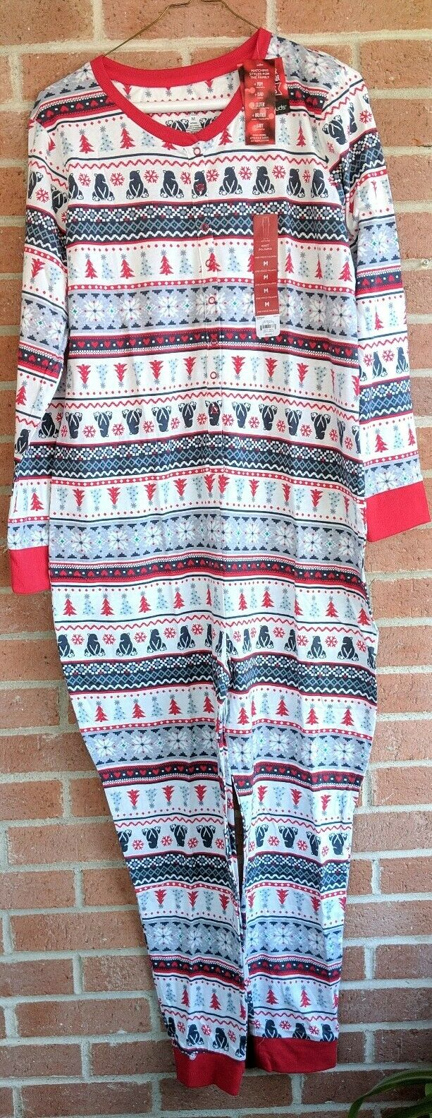 Jammies For Your Families Womens One Pc Pajamas Sz M Christmas Polar Bear