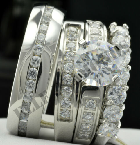 14K Gold Over Diamond Trio His And Her Wedding Bridal Band Engagement Ring Set