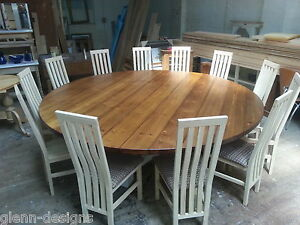 Details About 8 10 12 14 Seater Large Round Hoop Base Dining Table Bespoke Chunky 44mm Top
