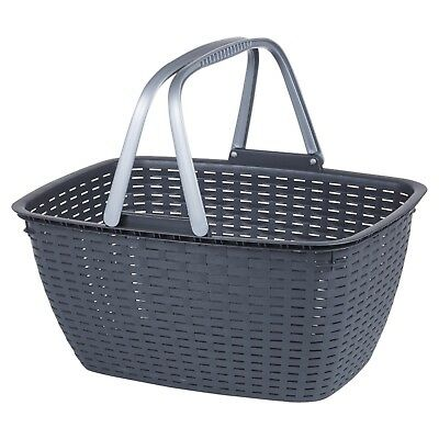Black Laundry Basket Rattan Washing With Carrying Handles Home Clothes Bin Sort