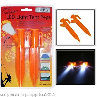 LED LIGHT TENT PEGS X2 CAMPING SAFETY GUIDE ROPE BIVI ARMY FIELDCRAFT
