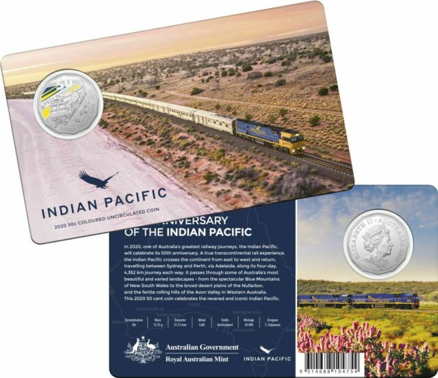 2020 50c Coloured Unc Carded Coin.  50th Anniversary of the Indian Pacific
