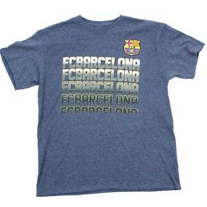 FC Barcelona Soccer Shirt Mens Size Large Short Sleeve Blue Heather Tee Futtball