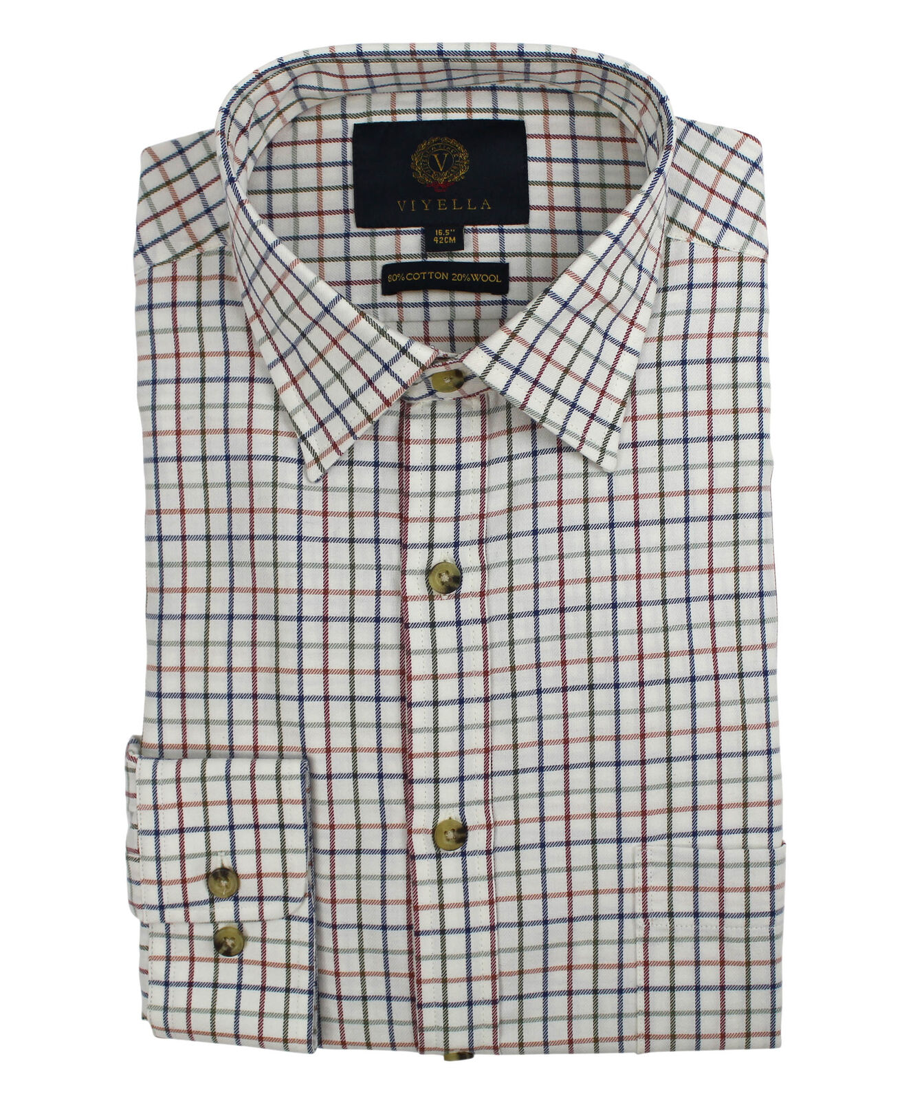 Viyella Plum Tattersall 80 20 Cotton Wool Blend Shirt